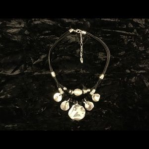 Jewelry - Silver tone and leather necklace